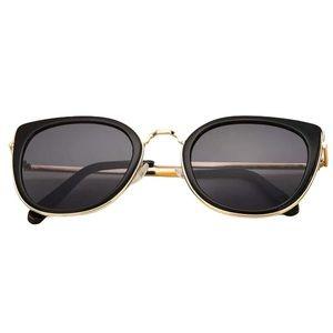 Subtle Cat Eye Black & Gold Sunglasses